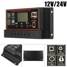 LCD 10A-30A Solar Charger Controller PWM Dual USB Charge Regulator Panel 12/24V