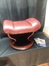 Ekornes Stressless Burgundy Colored Leather Ottoman Mid Century Modern Style