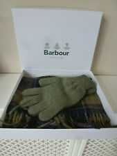 Brand New Barbour Green Scarf & Glove Gift Boxed Set