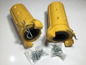 "2 x BLAST HOSE COUPLINGS  1""1/4 Connectors, joiners, Clemco fit x 2 & 16 Screws"