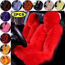 2PCS Genuine Australian Sheepskin Fur Long Wool Car Front Seat Cover Winter Warm
