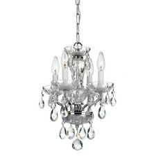 Crystorama Traditional Crystal 4 Light Chrome Mini Chandelier - 5534-CH-CL-S