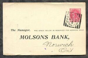 4566 - HALIFAX NS 1898 Squared Circle on QV Leaf Postal Card. Molsons Bank
