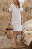 NEW The White Company Linen Embroidered Lined White Dress 8-16 SUMMER RRP £119
