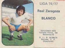 JUAN BLANCO PENALVA # URUGUAY REAL ZARAGOZA CARD TARJETA ESTE LIGA 1977