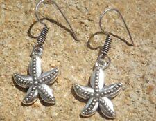 Ethnic Indian boho style alloy drop earrings silver tone starfish design
