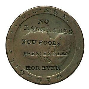 George iii Countermarked Penny  No Landlords You Fools / Spence's Plan For Ever