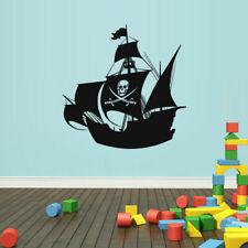 Wall Decal Vinyl Sticker Pirate Ship Boat Gungster Skull Bones Sea Ocean Z1702