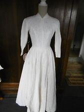 Robe de mariée vintage année 60 coton blanc broché