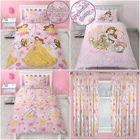 DISNEY PRINCESS BELLE BEAUTY AND THE BEAST SINGLE DUVET COVER SET & CURTAINS