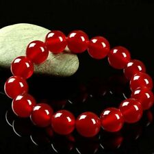 Round Gemstone Beads Bracelet Bangle Y3405 Fashion Women's 12mm Natural Red Jade