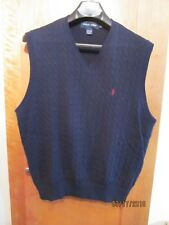 Polo Golf Ralph Lauren Men's V-Neck Cable Knit Vest Sz Large Made in Usa