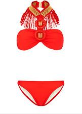 £140 Forever Unique Red Tassel Fringe Gold Bikini Mode Mwah Beach Bunny Set 8 6
