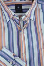 Tailorbyrd Uomo Viola Bianca & Striscia Arancione Camicia di Cotone Casual XL