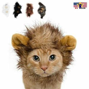 Lion Head Mane Wig Hair Fur Headgear Small Cat Dog Puppy Pet Costume Cosplay