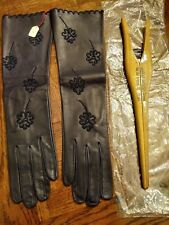 Vintage Women's Size 7 Long Leather Camillo Anticoli Gloves & Stretcher NEW