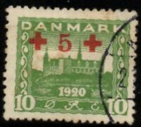 Denmark Sc B1 1921 5 ore Red Cross surcharge stamp used Free Shipping