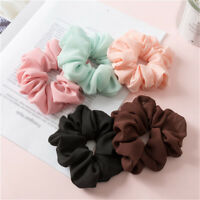 1Pc Elastic Chiffon Hair Ring Tie Women Soild Color Hair Rope Scrunchie Ponytail