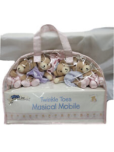 Bedtime Originals Twinkle Toes Musical Baby Crib Mobile - Pink, Gray, Bears 🐻