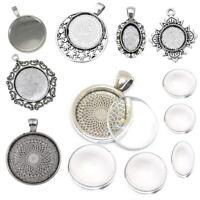 Set Fassungen und Glas Cabochon Metallanhänger Medaillons Schmuck Bastel Wählen