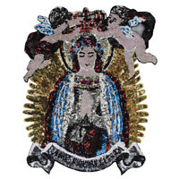 Large Sequin Angel Boys Goddess Mary Applique Fabric Embroidery Brand Back Patch
