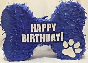 "Blue Dog Bone Pinata 20"" Happy Birthday!"