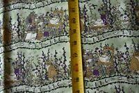 By 1/2 Yd, Cats & Tea in Garden on Green Quilt Fabric, Moda/Deb Strain N5478