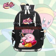 "18"" Mochila Bolso Escolar de animé de dibujos animados Kirby bolsas de viaje con Portafolio tipo Laptop De Regalo"