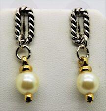 Modern  Design Style Rhodium Plated  Cream Pearl Drop Post  fashion Earring W23