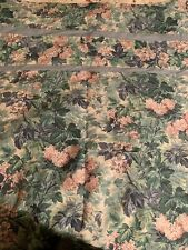 Vintage Laura Ashley Ashbourne Fabric Shower Curtain Green Pink Flowers Made USA