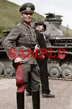 German WW 2 General Erwin Rommel Colorized Photo 8 X 10 Reproduction