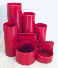 Vintage 1970's 1980's red bordeaux plastic desk caddy pen pot holder organiser