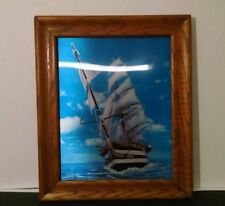 Vintage 3 D Tall Ship Picture Framed Hologram Dimensional Wooden Frame