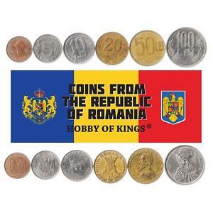 Set 6 Coins Romania 1 5 10 20 50 100 Lei 1990 - 1996