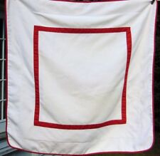 Pottery Barn Diamond Quilted Euro Pillow Sham Linen Beige Red Ribbon Trim 26x26