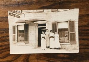 RPPC 1907 era JS WALBURN MILLINERY Lady Hat Fashion Storefront Advertising Sign
