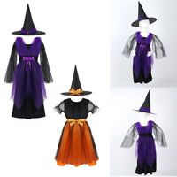 Kid Girls Child Witch Cosplay Dress Costume Halloween Carnival Performance Wear