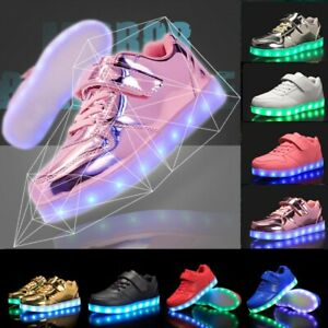 Kids LED Light Up Shoes Cool Boys Girls Luminous Flashing Trainers Sneakers Gift
