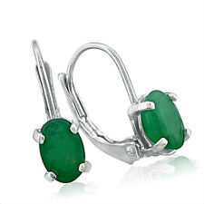 "14K WHITE GOLD 1.25CT LEVERBACK OVAL GENUINE EMERALD EARRINGS, 1/2"" X 3/8"""