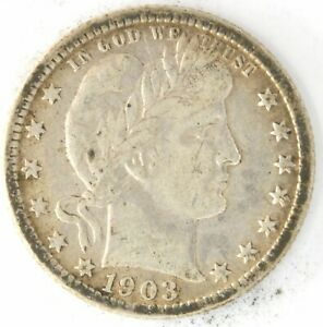 1903 O Barber Quarter Dollar US 25 Cent 90% Silver Coin New Orleans Investment