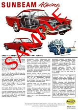 Sunbeam Alpine Series 3 Reproduction Specification Poster