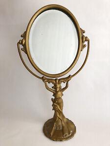 VINTAGE ART NOUVEAU CAST LADY FIGURE SWIVEL VANITY MIRROR GOLD ART DECO