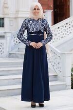 Turkish Muslim Bolero Design Abaya Dress Navy Blue/WITH Gift Necklace