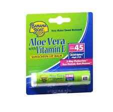Banana Boat Sunscreen Lip Balm Aloe Vera With Vitamin E SPF 45 0.15 oz