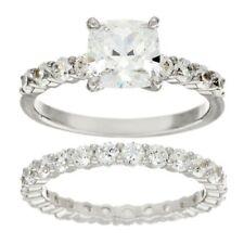 QVC Diamonique Ring Cubic Zirconia 2-Piece 100-Facet Platinum Size 7