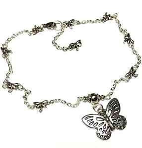 Silver Butterfly Charm Ankle Bracelet Dragonfly Chain Anklet Foot Jewellery Boho