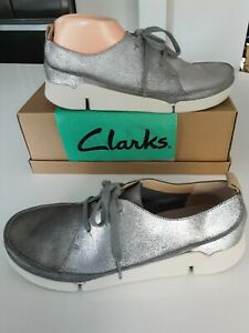 Clarks TRIGENIC Tri Clara Silver Distress Leather Lace-Up Casual Shoe size 7.5D