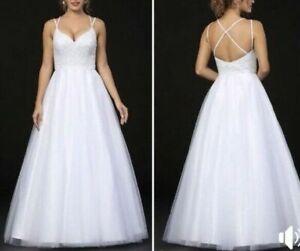 New Spaghetti Straps Beading A-Line Wedding Bridal Debutante Ball Dress Custom