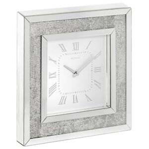 STUNNING MIRROR MULTI CRYSTAL TABLE or WALL CLOCK - ROYAL CREST