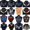 Women Fashion Jewelry Pendant Crystal Choker Chunky Statement Bib Necklace Chain